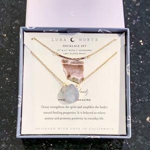 Luna Norte Druzy Quartz Necklace Set